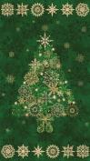 60cm x 110cm PANEL Starry Night Christmas Tree Cotton Fabric Panel - Evergreen Green