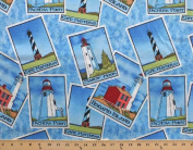 Lighthouses Sandy Hook Cape Hatteras Fisgard Island Pachena Point Cotton Fabric Print