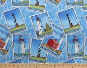 Lighthouses Sandy Hook Cape Hatteras Fisgard Island Pachena Point Cotton Fabric Print