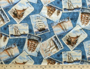 Ports of Call Post Cards Ship Ships on Ocean Cotton Fabric Print