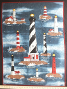 90cm x 110cm PANEL Harbour Lights USA Canada Lighthouse Wallhanging Cotton Fabric Panel