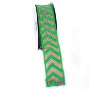 (Green) Wired Chevron Burlap Ribbon-100% Jute 3.8cm X 10 Yards