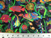 Tropical Fish Lined Fabric 1yd by 140cm Wide Fish Design 100% Cotton Material Lined on Underside For Sewing Projects like Tablecloths, Tablecovers, Aprons - Top Rated Quality 22% more FABRIC than 110cm width
