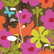 "Jackie Shapiro FRENCH BULL ""SHADOW FLOWER"" Pink, Orange & Green Flower FABRIC PANEL (Great For Quilting, Sewing, Craft Projects, Wall Hangings, Throw Pillows and More) 38cm x 41cm"