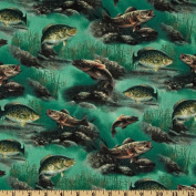 Sport Fisherman Fish Allover Green Fabric