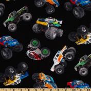 In Motion Monster Trucks Black Fabric