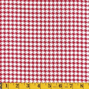 Choice Fabrics The Gallery Mardi Gras Red & White Houndstooth, 110cm Wide, by the Yard