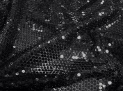 Black Stretch Mesh W/black Sequins Fabric 130cm Wide By the Yard