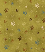 Cat Fabric - Kitty Kat Kapers - Pawprints - Green - Leanne Anderson