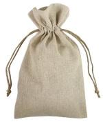 15cm x 25cm Natural Linen Favour Bags - 12 Pack