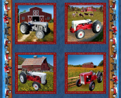 Ford Tractor Panel Fabric, Features 8N, 9N, Jubilee and 641 tractors, denim colour