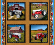 Ford Tractor Panel Fabric, Features 8N, 9N, Jubilee and 641 tractors, tan colour
