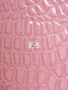 SHINY FAUX LEATHER/VINYL FABRIC- Pink - ALLIGATOR PATTERN SOLD BTY