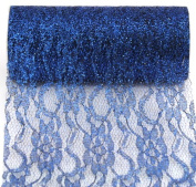 Kel-Toy Sparkle Lace Fabric, 15cm by 10-Yard, Navy