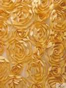 LOTUS FLOWER SATIN MESH FABRIC - Gold - 120cm /130cm WIDTH SOLD BY THE YARD