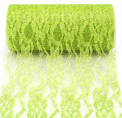 Kel-Toy Sparkle Lace Fabric, 15cm by 10-Yard, Apple Green