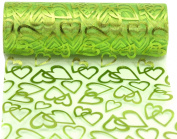 Kel-Toy Heart Print Sheer Fabric, 15cm by 10-Yard, Apple Green with Hearts