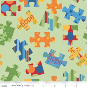 Cotton Riley Blake Puzzle Pieces of Hope Cotton Fabric Print by the Yard