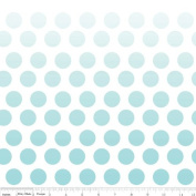 Cotton Riley Blake Ombre Dots Aqua Dots on White Cotton Fabric Print by the Yard