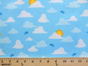 Out N About Cute Birds in the Sky Cotton Fabric Print by the yard
