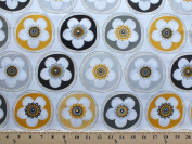 Crazy for Daisy Dot Flower Sunshine Cotton Fabric Print by the yard