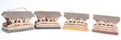 Set of 4 Miniature Wooden Covered Bridges with Rustic Tin Roofs for Fairy Gardens, Gnome Villages and Other Miniatures - 10cm - 1.3cm Long X 5.1cm - 0.6cm Wide X 7.6cm High