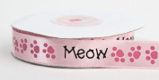 1.6cm Wide Satiny Cat Lover Pink Ribbons with Meow & Kitty Paw Prints - 50 Yards Total