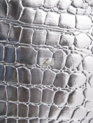 SHINY FAUX LEATHER/VINYL FABRIC- Silver - ALLIGATOR PATTERN SOLD BTY