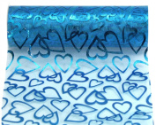 Kel-Toy Heart Print Sheer Fabric, 15cm by 10-Yard, Ice Blue with Hearts