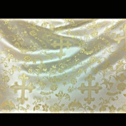 Ivory & Gold Metallic Church Brocade 110cm Per Yard