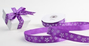 1.6cm - Wide Satiny Purple Ribbon with Mini White Florals 50 yards Total