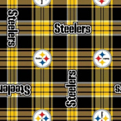 NFL Pittsburgh Steelers 150cm Wide Black / Yellow Plaid Football Fleece Fabric - Sold by the Yard
