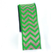 (Green) Wired Chevron Burlap Ribbon-100% Jute 6.4cm X 10 Yards