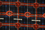 NFL Chicago Bears Blue / Orange 150cm Plaid Flannel Fabric - Sold by the measurement
