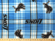 NFL Detroit Lions Plaid Professional Football Fleece Fabric Print