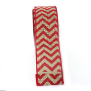 (Fuschia) Wired Chrevron Burlap Ribbon-100% Jute 6.4cm X 10 Yards