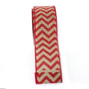 (Fuschia) Wired Chrevron Burlap Ribbon-100% Jute 6.4cm X 10 Yards