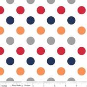 Riley Blake Basics Polka Dot Boy Flannel Fabric SKU F360-02 Red Orange Grey Navy