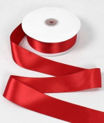 2.5cm - 1.3cm Red Double Face Satin Ribbon - 50 Yards