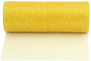 Kel-Toy Glitter Tulle Fabric, 15cm by 25-Yard, Lemon Yellow