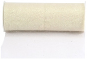 Kel-Toy Glitter Tulle Fabric, 15cm by 25-Yard, Ivory/Iridescent