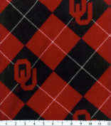 NCAA Fleece Fabric-University Oklahoma Argyle