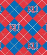 NCAA Fleece Fabric-University of Kansas Argyle