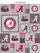College University of Alabama Crimson Tide Grey Patchwork Print Fleece Fabric Print By the Yard