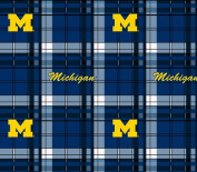College Plaid University of Michigan Wolverines Fleece Fabric Print by the Yard
