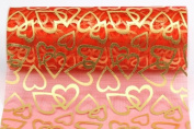 Kel-Toy Heart Print Sheer Fabric, 15cm by 10-Yard, Red with Gold Hearts