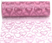 Kel-Toy Heart Print Sheer Fabric, 15cm by 10-Yard, Pink with Hearts
