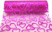 Kel-Toy Heart Print Sheer Fabric, 15cm by 10-Yard, Fuchsia with Hearts