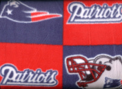 NFL New England Patriots Boxes Football Print Fleece Fabric