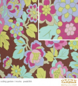 Amy Butler Gypsy Caravan Cutting Garden Floral Design Flower Garden on Brown Cotton Fabric Print by the yard
